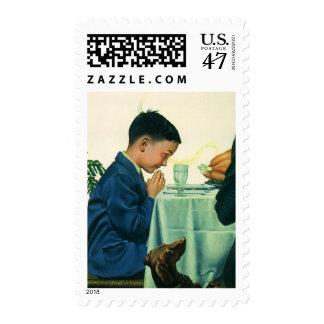 Vintage Religion, Boy Saying Grace at Thanksgiving Postage Stamp