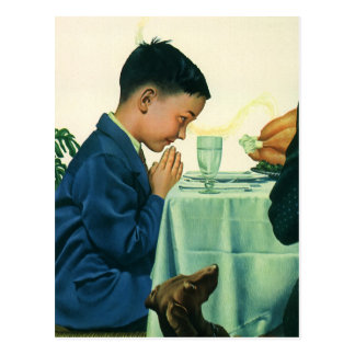 Vintage Religion, Boy Saying Grace at Thanksgiving Postcard
