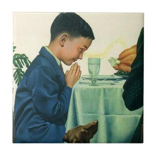 Vintage Religion, Boy Saying Grace at Thanksgiving Tile