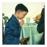 Vintage Religion, Child Saying Grace,Thanksgiving Custom Invitation