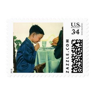 Vintage Religion, Child Saying Grace,Thanksgiving Postage