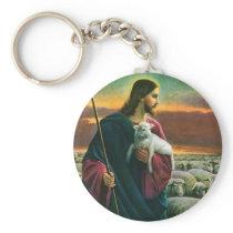 Vintage Religion, Christ Good Shepherd with Flock Keychain