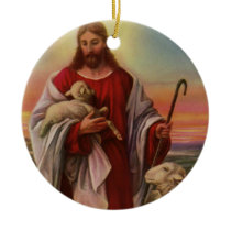 Vintage Religion, Christ the Good Shepherd Flock Ceramic Ornament