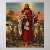 Vintage Religion, Christ the Good Shepherd Flock Poster