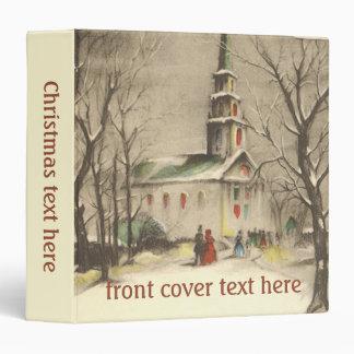 Vintage Religion, Church in Winter Snowscape Binder