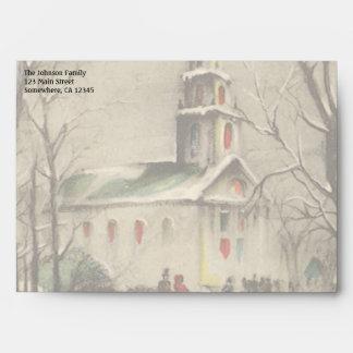 Vintage Religion, Church in Winter Snowscape Envelope