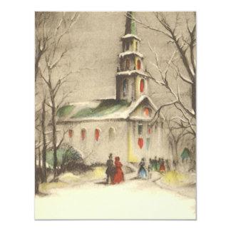 Vintage Religion, Church in Winter Snowscape 4.25x5.5 Paper Invitation Card