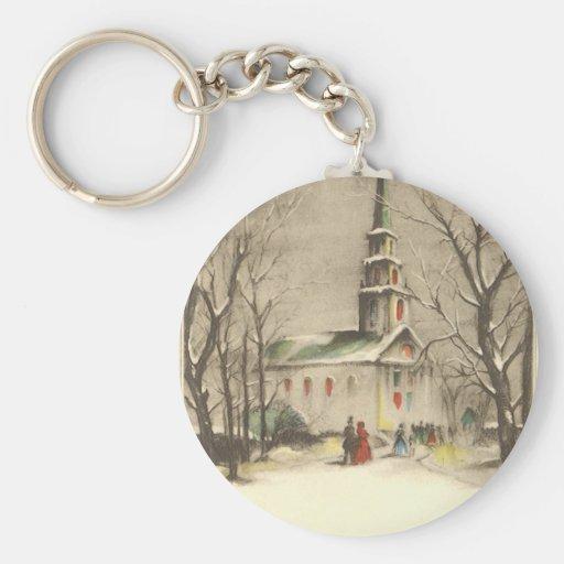 Vintage Religion, Church in Winter Snowscape Basic Round Button Keychain