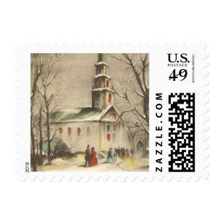 Vintage Religion, Church in Winter Snowscape Postage