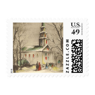 Vintage Religion, Church in Winter Snowscape Postage at Zazzle
