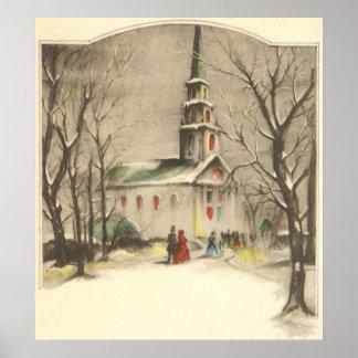 Vintage Religion, Church in Winter Snowscape Poster