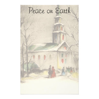 Vintage Religion, Church in Winter Snowscape Stationery