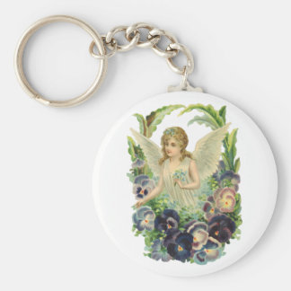 Vintage Religion, Easter Angel Purple Pansy Flower Basic Round Button Keychain