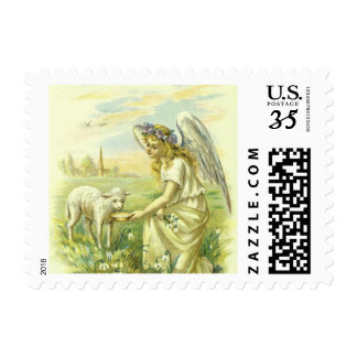 Vintage Religion Easter, Victorian Angel with Lamb Postage
