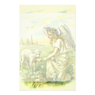 Vintage Religion Easter, Victorian Angel with Lamb Stationery Paper