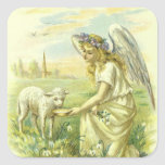 Vintage Religion Easter, Victorian Angel with Lamb Square Stickers