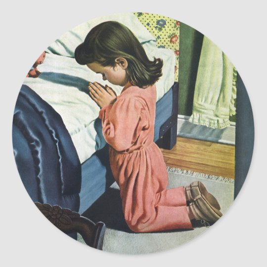 Vintage Religion, Girl Praying at Bedtime Classic Round Sticker