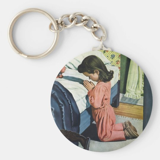 Vintage Religion, Girl Praying at Bedtime Keychain