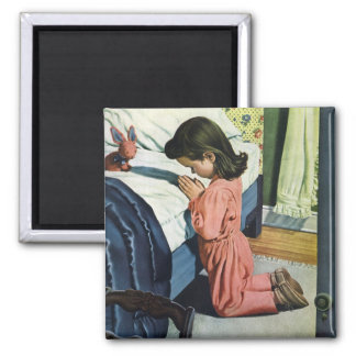 Vintage Religion, Girl Praying at Bedtime Magnet