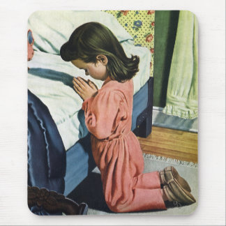 Vintage Religion, Girl Praying at Bedtime Mouse Pad
