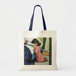 Vintage Religion, Girl Praying at Bedtime Tote Bag
