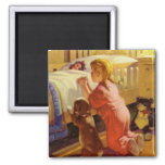 Vintage Religion, Girl Praying with Dog at Bedtime 2 Inch Square Magnet