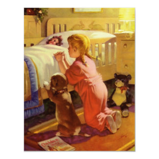 Vintage Religion, Girl Praying with Dog at Bedtime 4.25x5.5 Paper Invitation Card