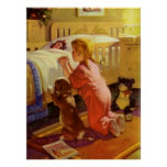 Vintage Religion, Girl Praying with Dog at Bedtime Poster