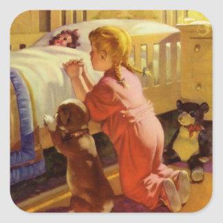 Vintage Religion, Girl Praying with Dog at Bedtime Square Sticker