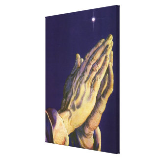 Vintage Religion, Hands Praying Towards Heaven Canvas Print