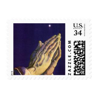 Vintage Religion Hands Praying Towards Heaven Postage