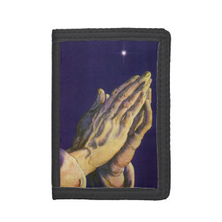 Vintage Religion, Hands Praying Towards Heaven Trifold Wallet