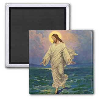 Vintage Religion, Jesus Christ is Walking on Water 2 Inch Square Magnet