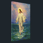 """Vintage Religion, Jesus Christ is Walking on Water Canvas Print<br><div class=""""desc"""">Vintage illustration religious Christianity design featuring one of the miracles of Jesus in the New Testament, Jesus Christ walking on water. The young man is wearing a long flowing robe and has a holy halo or aura surrounds his head while he is walking across a sea or ocean with gentle...</div>"""