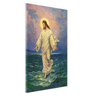 Vintage Religion, Jesus Christ is Walking on Water Canvas Print