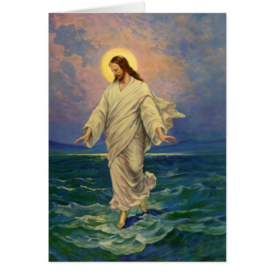 Vintage Religion, Jesus Christ is Walking on Water Card