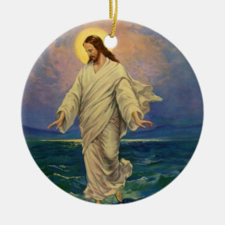 Vintage Religion, Jesus Christ is Walking on Water Ceramic Ornament