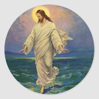 Vintage Religion, Jesus Christ is Walking on Water Classic Round Sticker