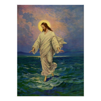 Vintage Religion, Jesus Christ is Walking on Water Poster