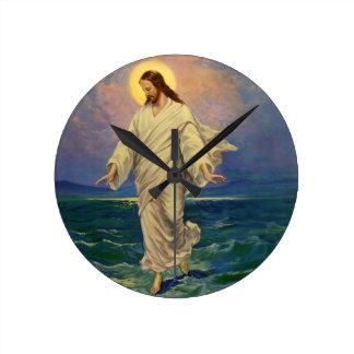 Vintage Religion, Jesus Christ is Walking on Water Round Clock