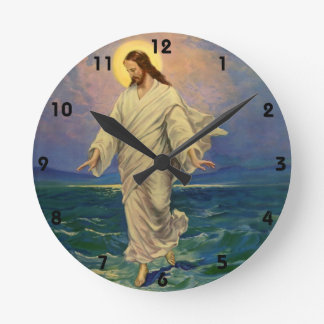 Vintage Religion, Jesus Christ is Walking on Water Round Clock