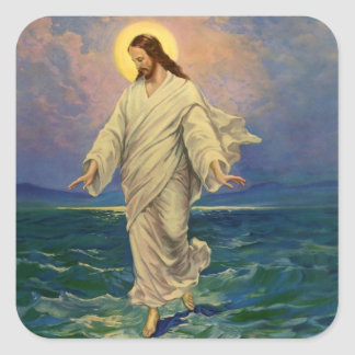 Vintage Religion, Jesus Christ is Walking on Water Square Sticker