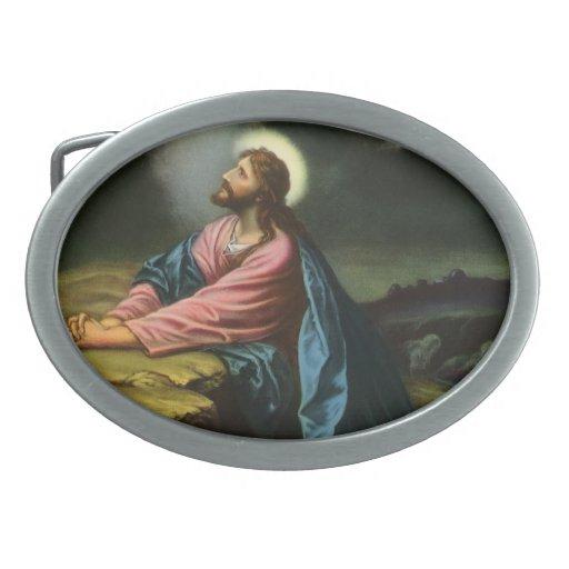 Vintage Religion, Jesus Christ Praying, Gethsemane Oval Belt Buckles