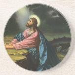 Vintage Religion, Jesus Christ Praying, Gethsemane Drink Coaster