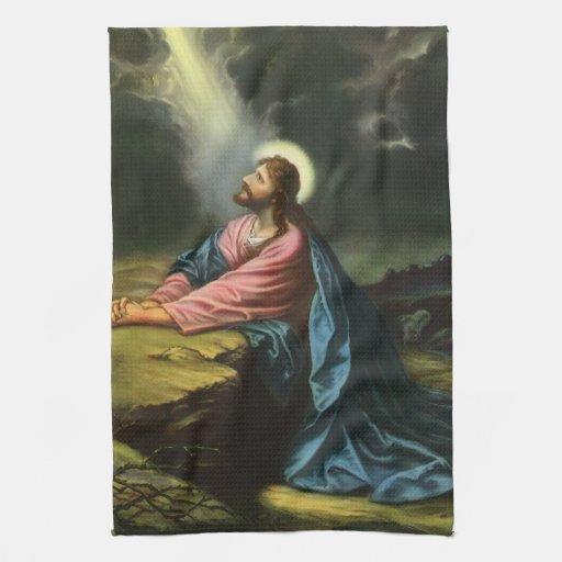 Vintage Religion, Jesus Christ Praying, Gethsemane Towels