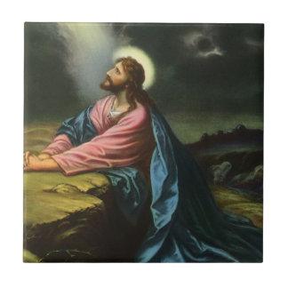Vintage Religion Jesus Christ Praying Gethsemane Tile