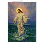 Vintage Religion, Jesus Portrait Walking on Water Greeting Card