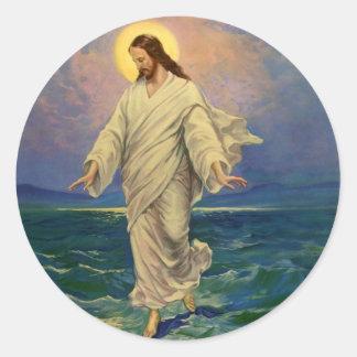 Vintage Religion, Jesus Portrait Walking on Water Classic Round Sticker