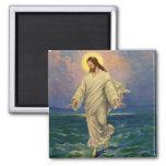 Vintage Religion, Jesus Portrait Walking on Water 2 Inch Square Magnet