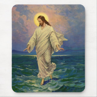 Vintage Religion, Jesus Portrait Walking on Water Mouse Pad